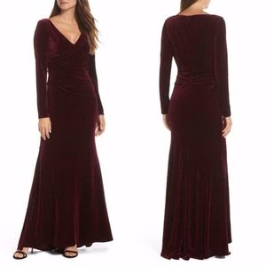 NEW Vince Camuto BURGUNDY Ruched SIDE VELVET GOWN